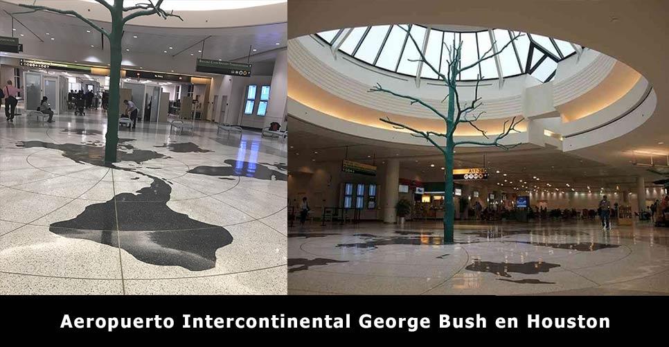 mapa de la tierra plana en el suelo del aeropuerto george bush internacional