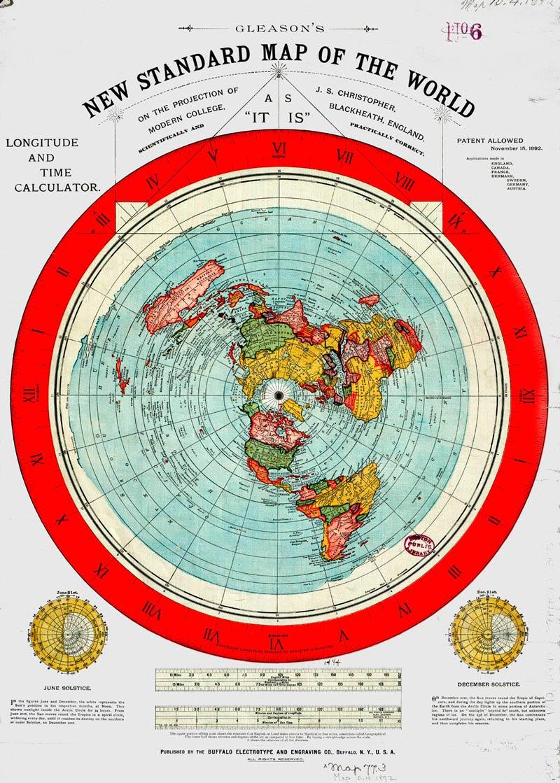 mapa de gleasson de la tierra plana en gran calidad